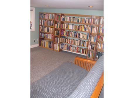 basement queen bed/ futon and bookcase / sous sol avec futon-lit queen et librairie