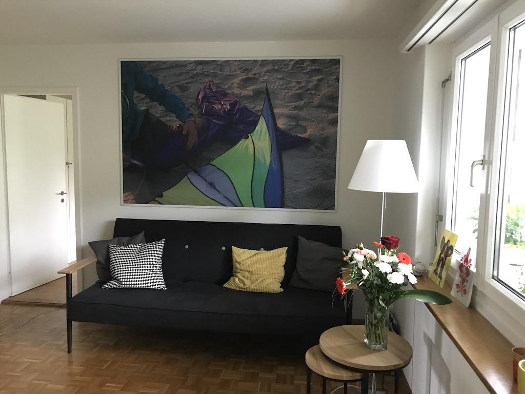 living room with contemporary artworks