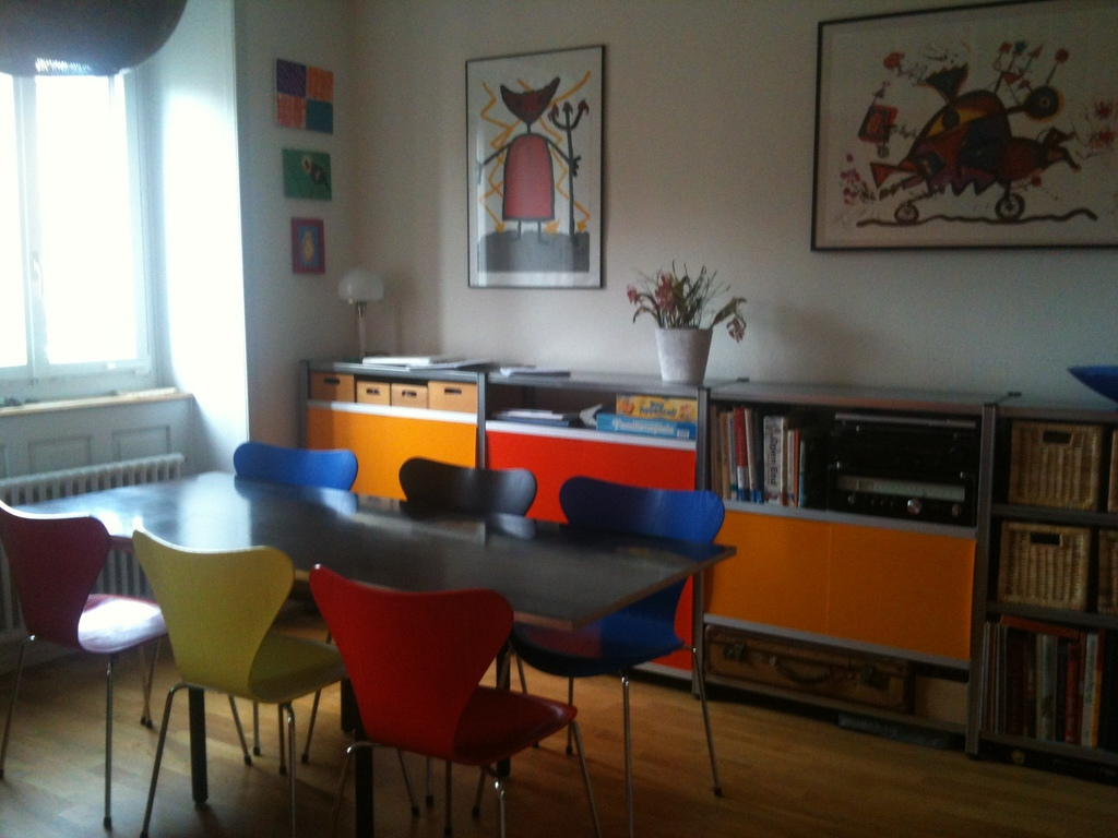 living room with table and music
