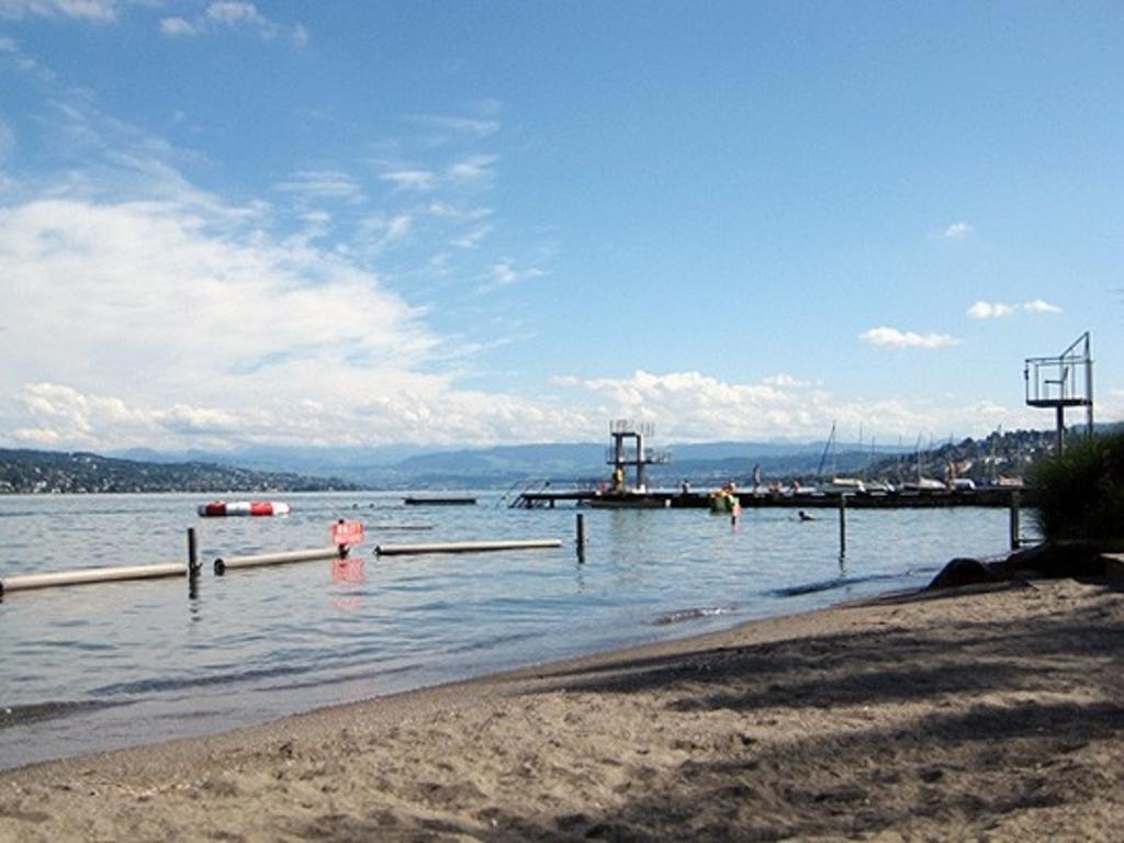 """beach on lake Zurich """"Strandbad Mythenquai"""""""