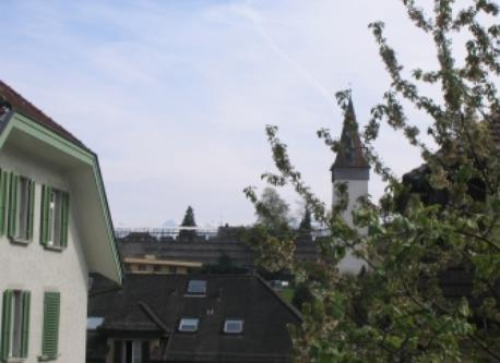Blick auf die Museggmauer (alte Stadtmauer)/view from the balcony on to the old city towers