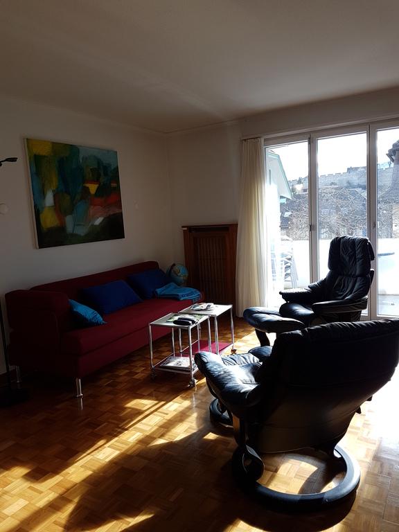 Wohnzimmer mit Blick auf den Balkon / livingroom view to the balcony