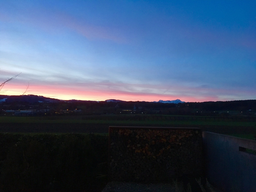 Säntis, the mountain in the dusk