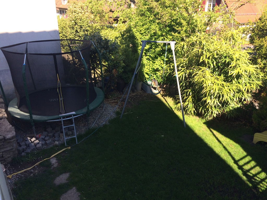 trampolin and swing in the garden