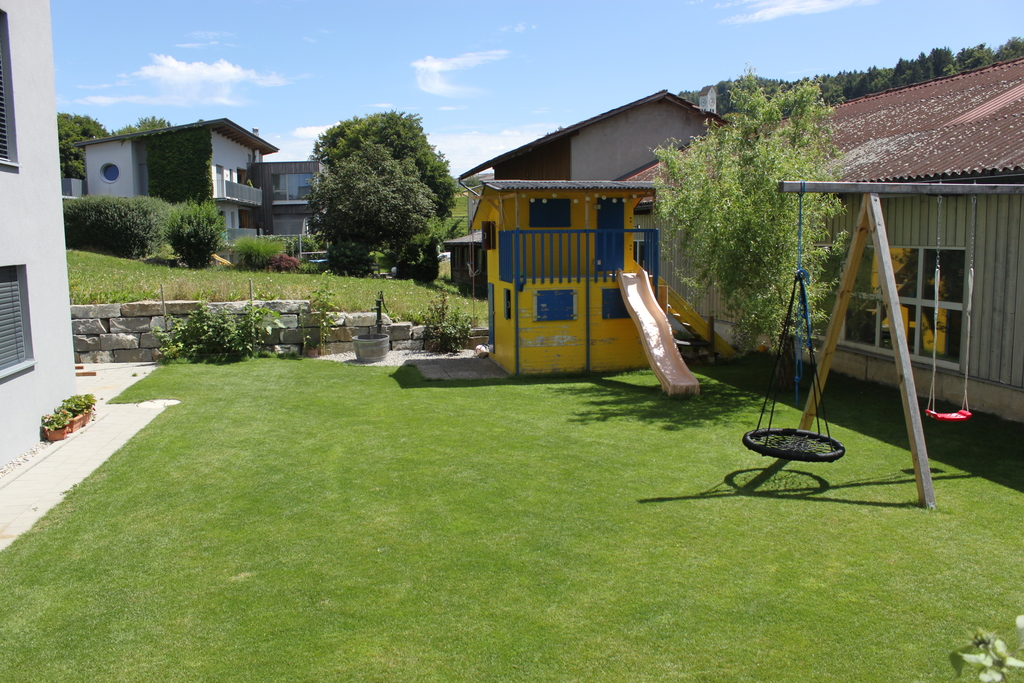 Playhouse and swing