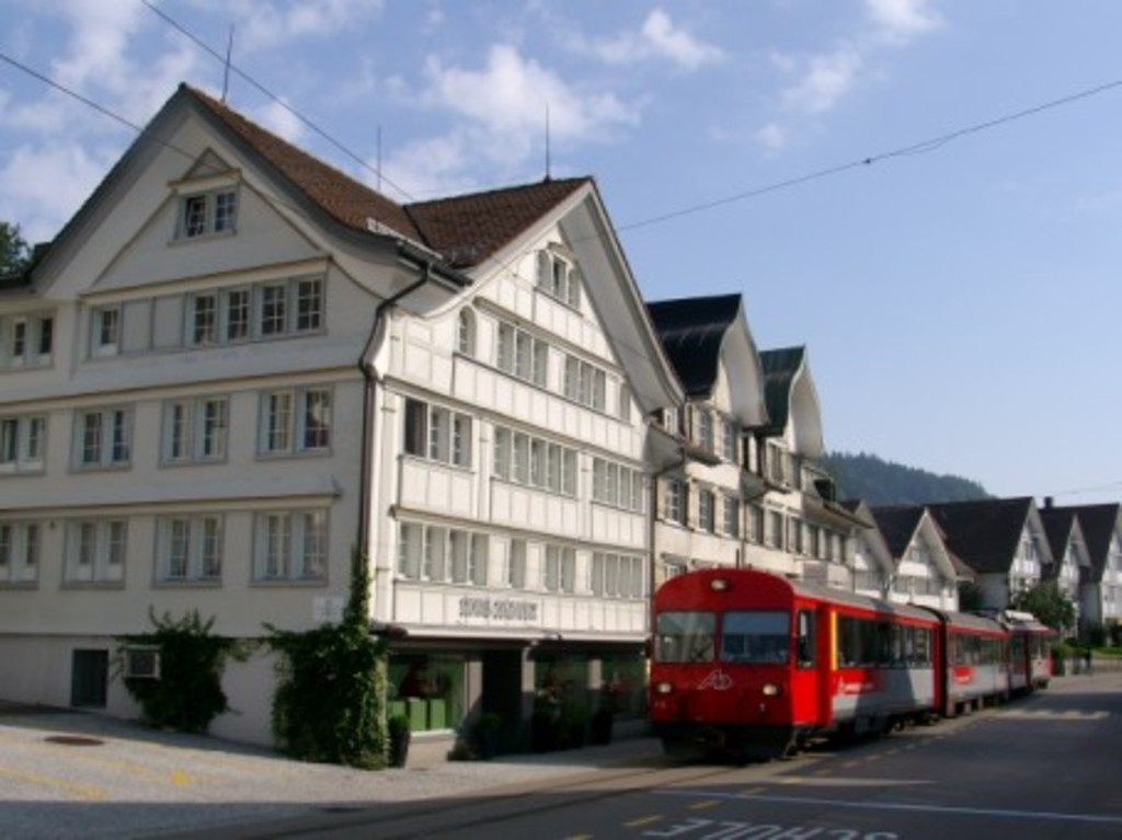 the train to St. Gallen in the village