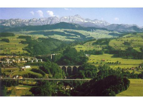 St. Gallen mit Säntis/St. Gallen with Alpstein Mountains and Mount Säntis