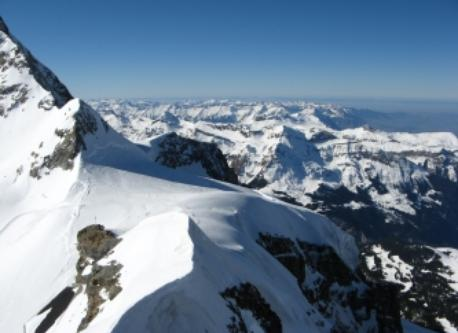 """On the mountain """"Jungfrau"""" next to the mountain Eiger and Mönch in the berner alps, here 3800 m high (of 4158m)"""