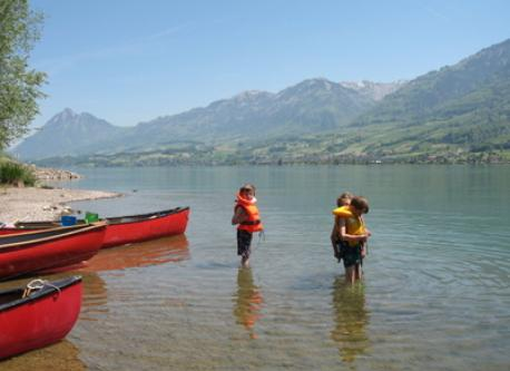 with the canoe on the lake of Sarnen