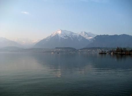 nearby lake of Thun and Alps
