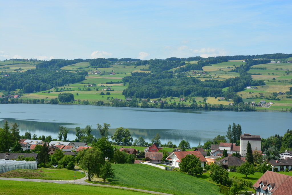 fantastic view from Schloss Heidegg to Gelfingen and Baldeggersee