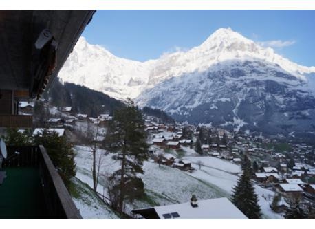 Sicht vom Balkon Richtung Grindelwald (Winter) / vue du Balcon direction Grindelwald en hiver