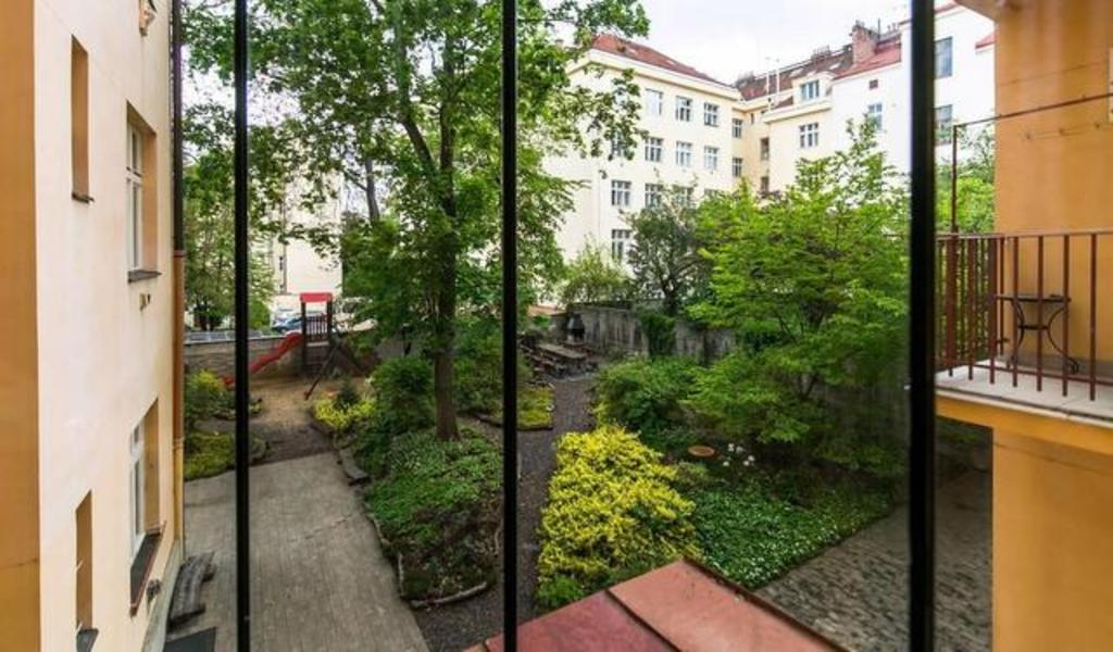 view of the garden from the elevator