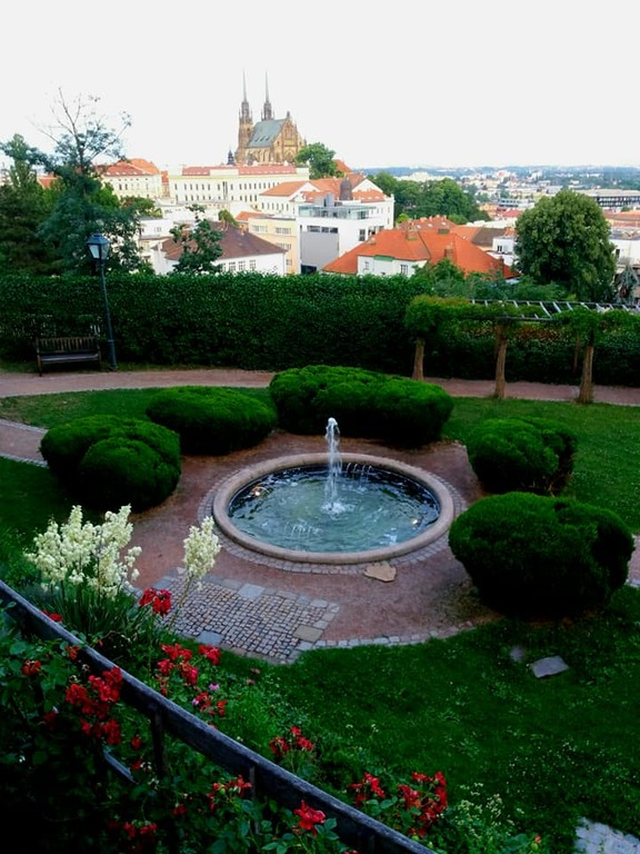 View to the Petrov Cathedral from the Spilberk Castle park