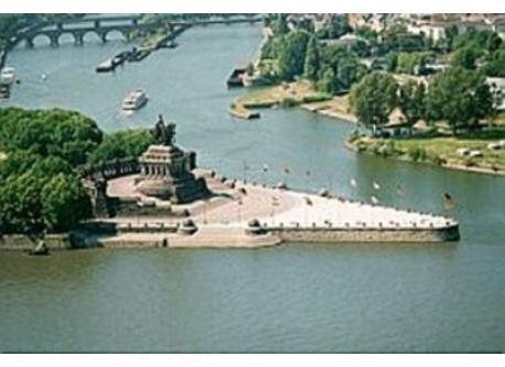Deutsches Eck in Koblenz The Mosel flows into the Rhein.