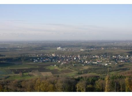 """view from our """"homehill""""  if the weather is good you can see Stasbourg/France"""
