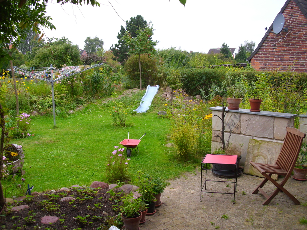 Terrace and garden view, slide is away now in favour of more strawberry plants