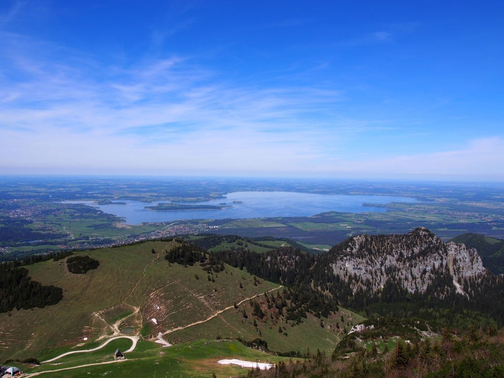 View from Mount Kampenwand on Lake Chiemsee, cablecar, then hiking