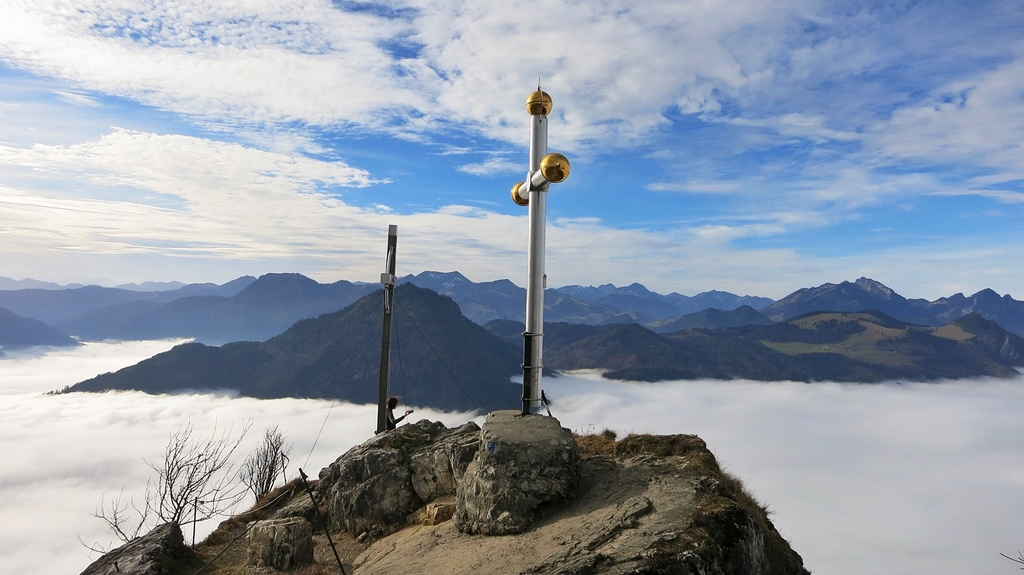 Summit of Mount Kranzhorn, two crosses as directly on German-Austrian border