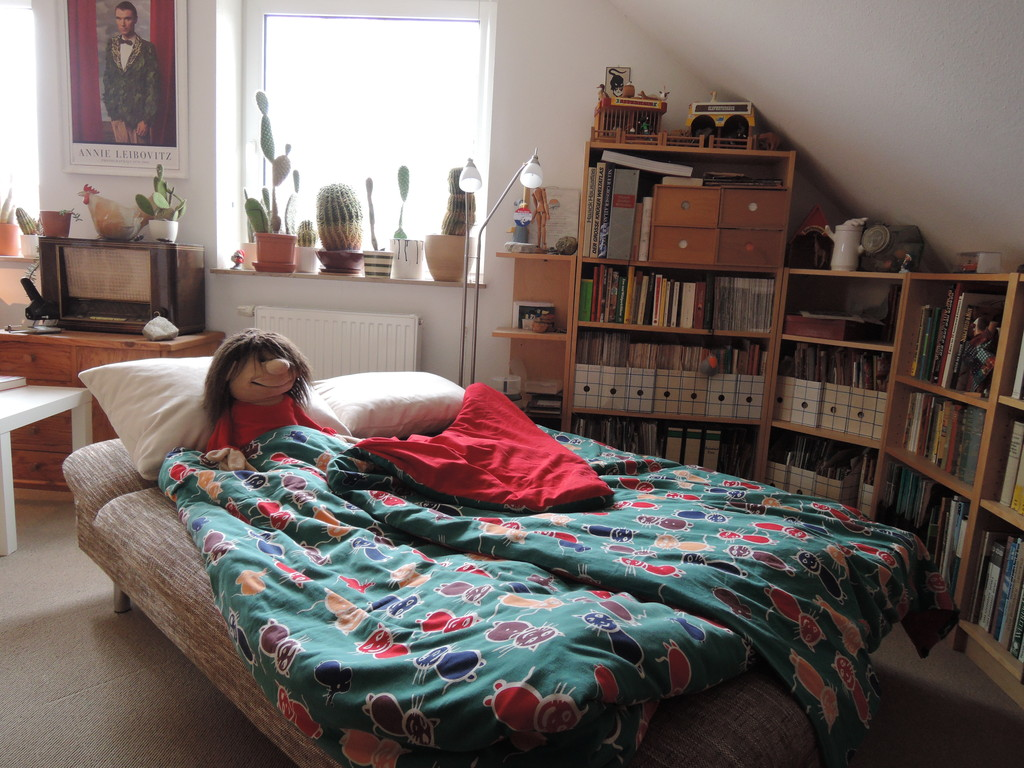the double bed in the study