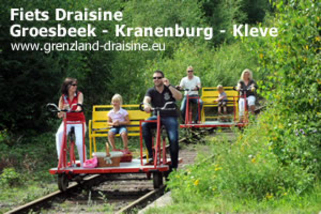 Draisine, multi-person biking on trail between Kleve and Groesbeek (NL)