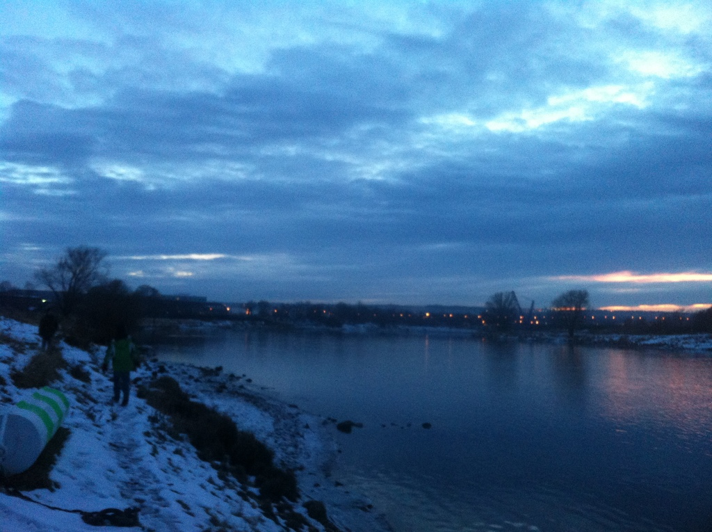 at the river Elbe in winter