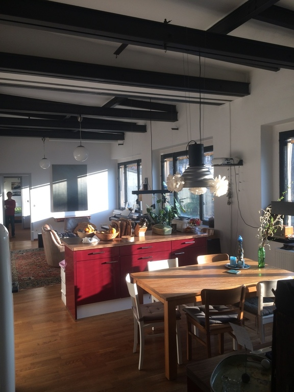 our dining room/open kitchen with view to the living room