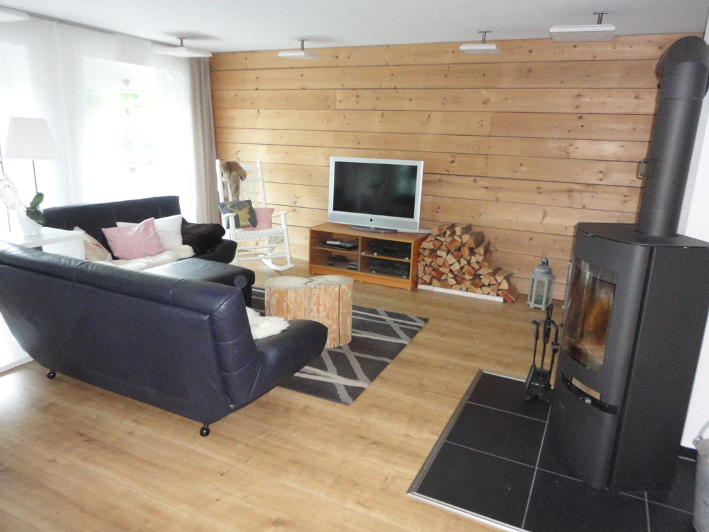 Living room with wooden wall and stove.