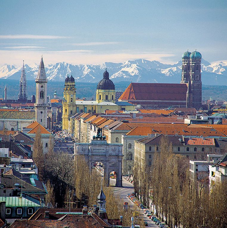 Munich Skyline with the alps