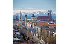Munich Skyline with the alps