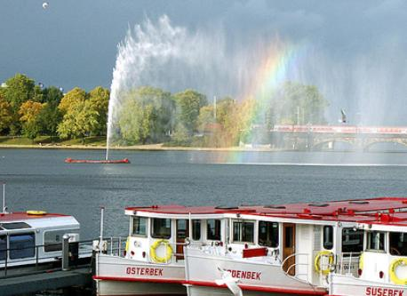 The river Alster in the heart of the city