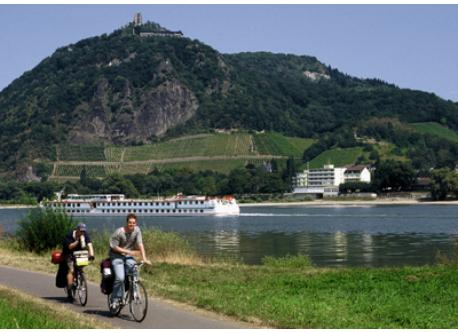 "River Rhine with ""Drachenfels"" (dragons rock). 30 min. by car"