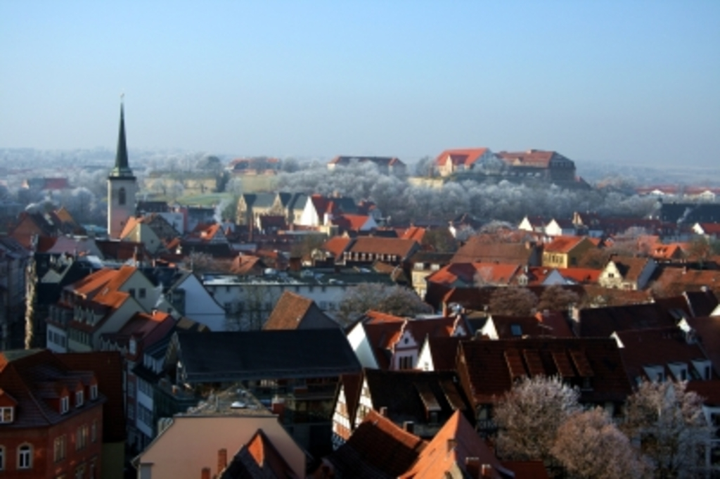 View of Erfurt town center in winter
