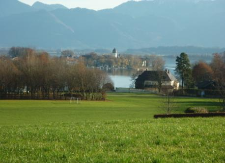 Chiemsee with Fraueninsel and mountains