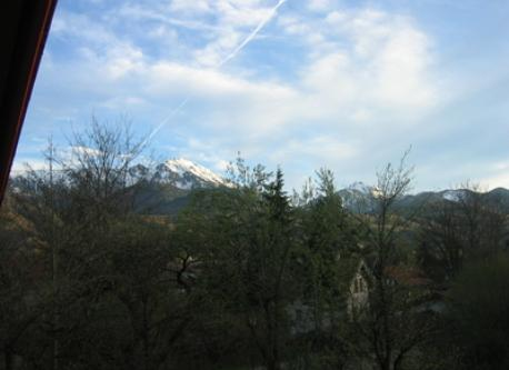 "View from the balcony of the parents bedroom to our local mountain (""Hochfelln"")"