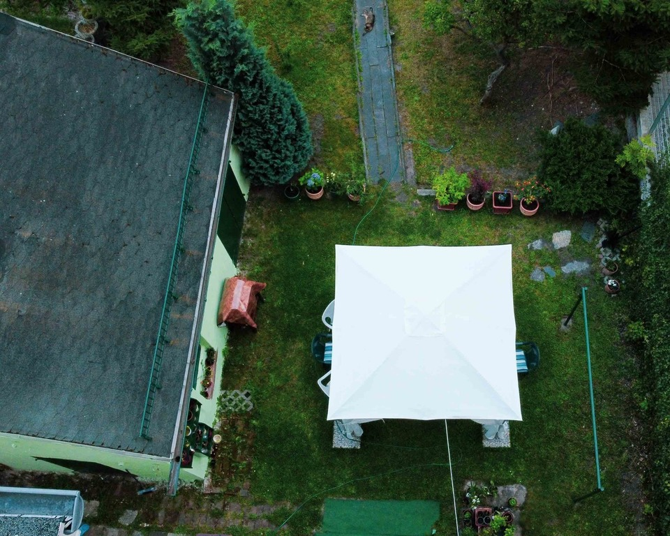 gazebo and garden, photos from above.
