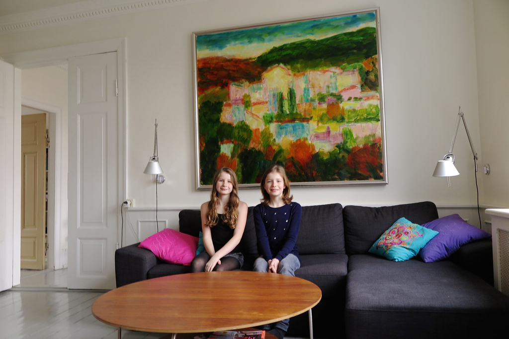 Elizabeth and Victoria in the sitting room.