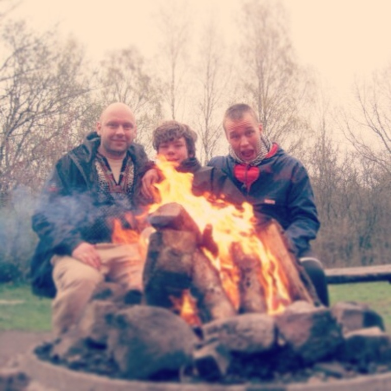 Bonfire in the garden, me and our two sons