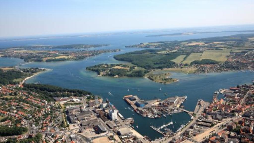 Svendborg and surroundings seen from very far