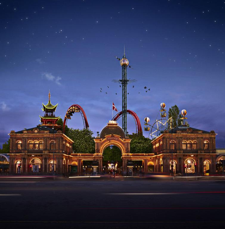 Tivoli. Amusement park. Copenhagen. 25min by train. 35 min drive.