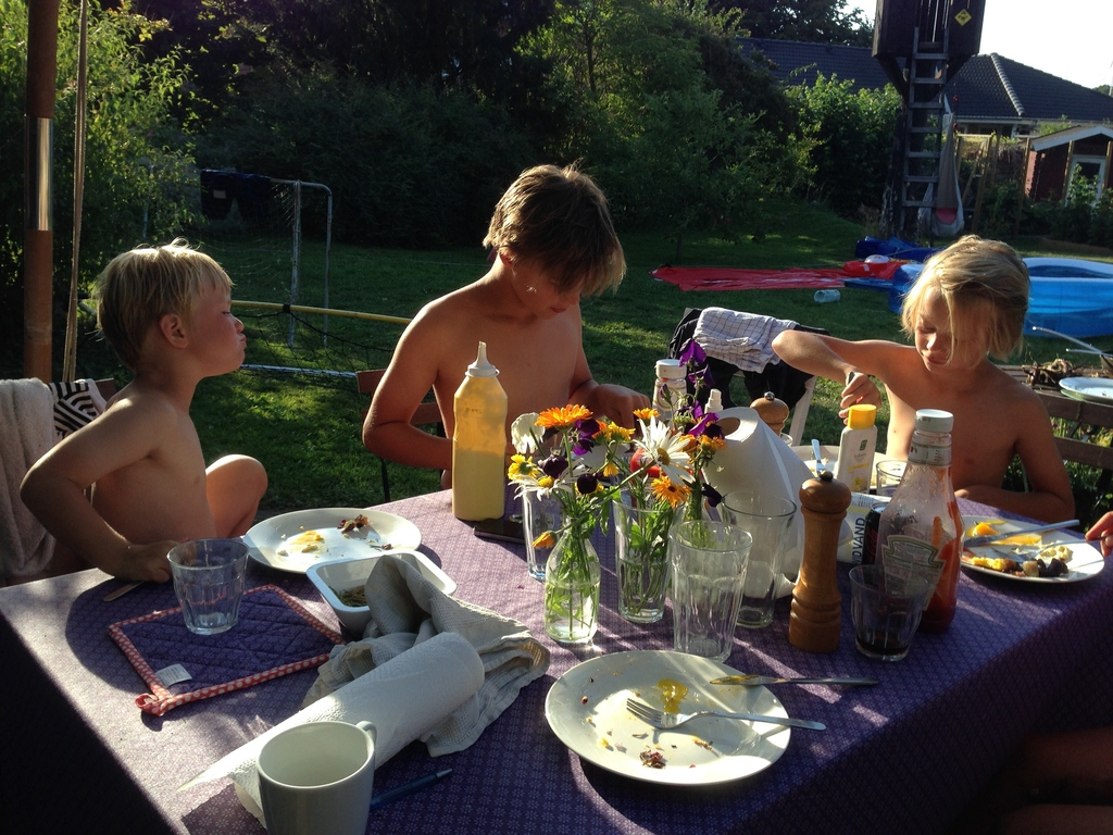 Dinner in the garden - the boys summer 2015