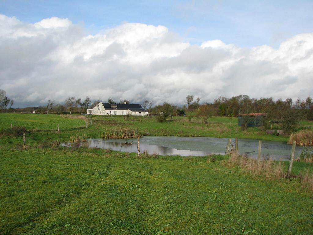 Our home seen from east, we have fields all around, and a beautiful lake with two swans living in it.