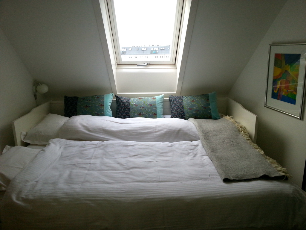 The smaller bedroom with the sofabed open (160 x 200).