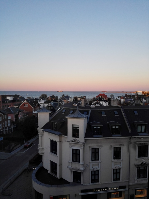 Evening light over Hellerup and the Øresund strait