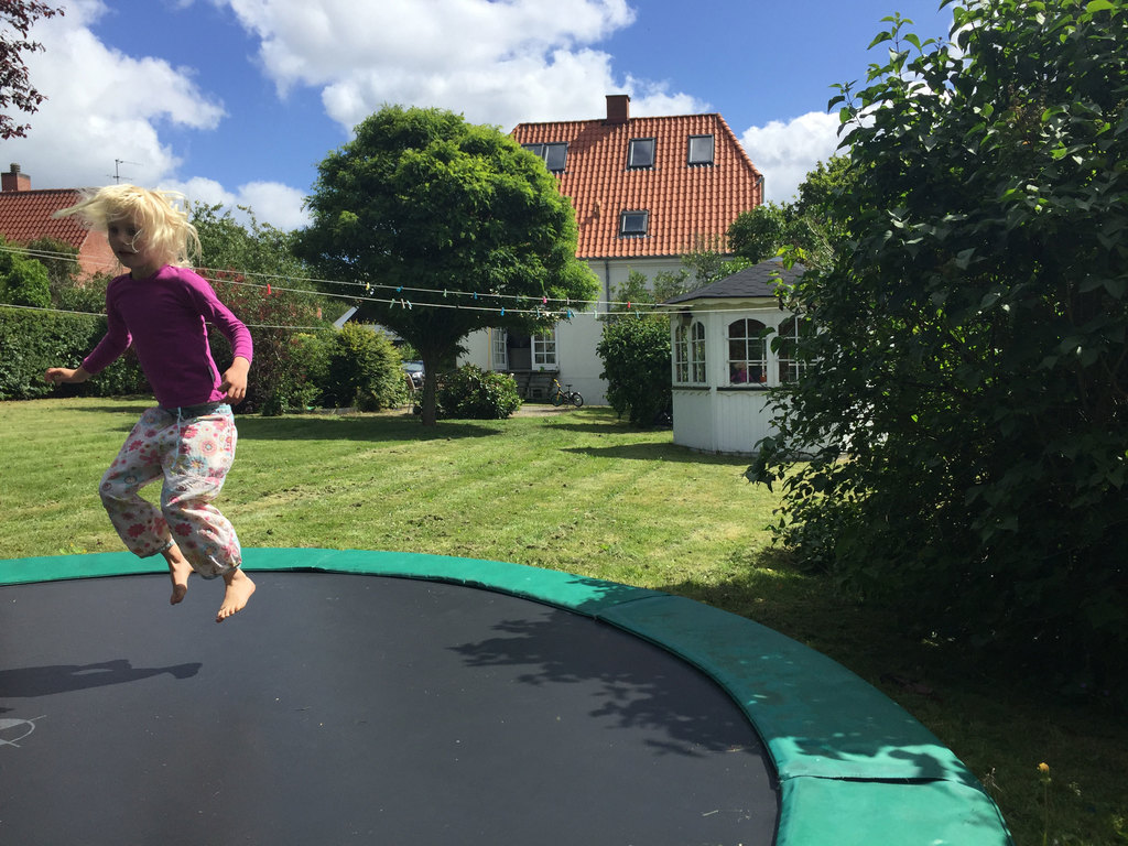 trampoline in the garden