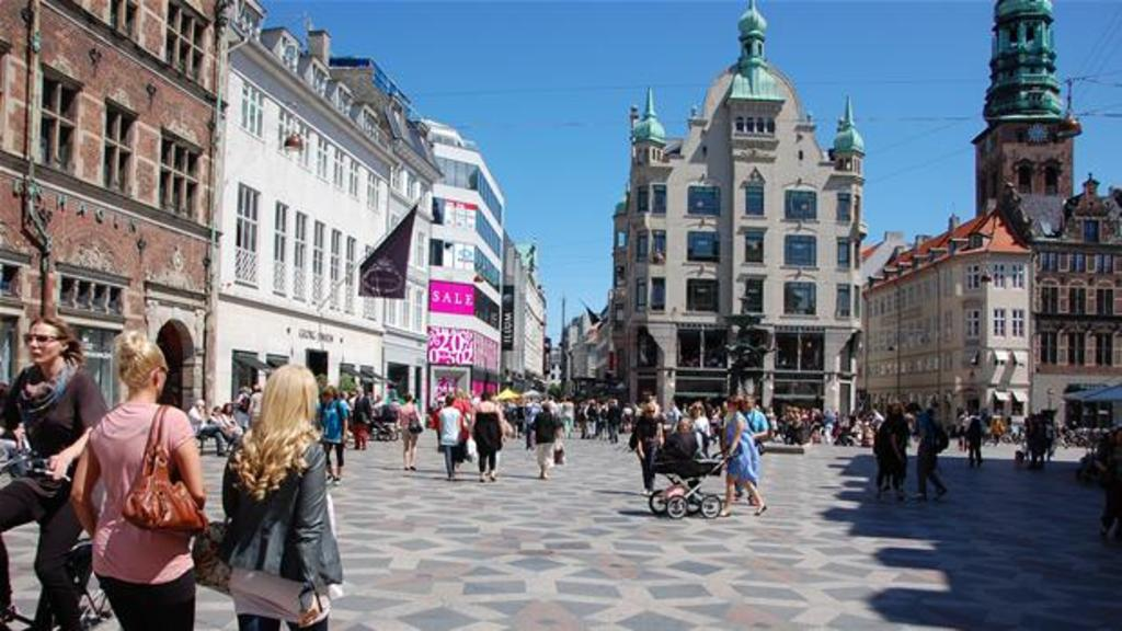 Strøget, one of the largest pedestrian ares in the world - The center of Copenhagen