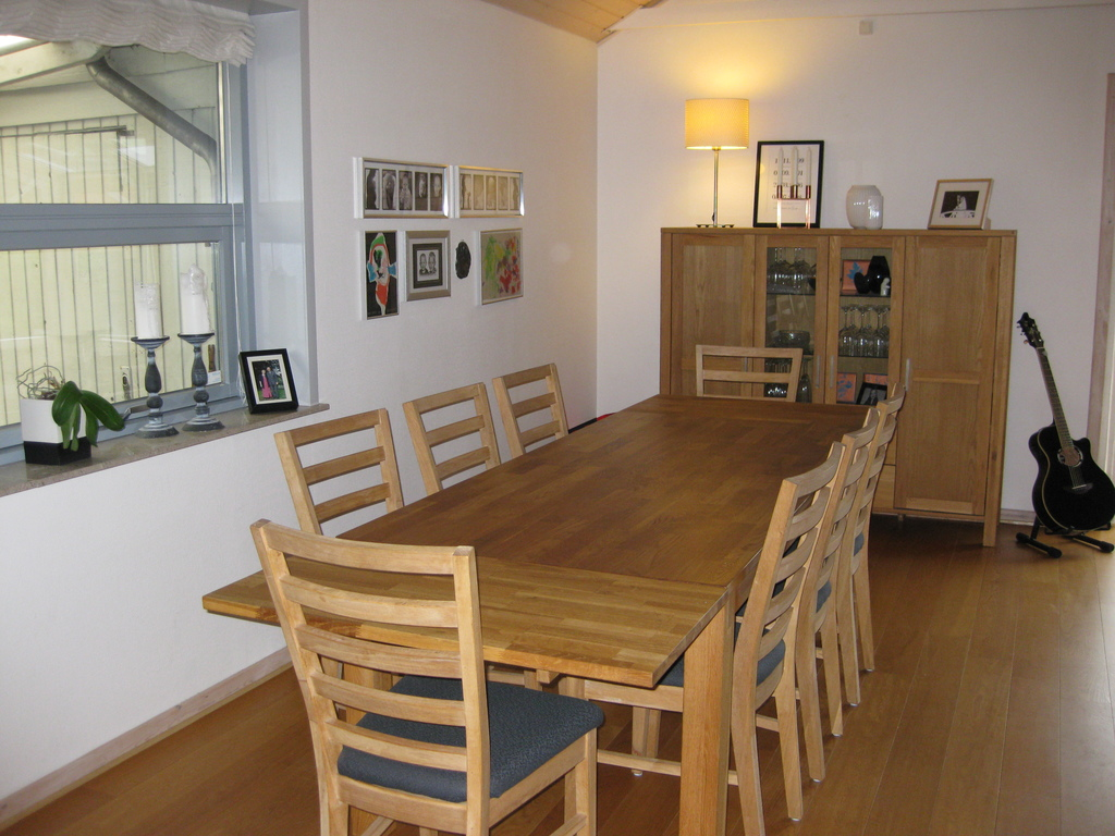Our living room dining area - perfect for guests, board games or playing with lego