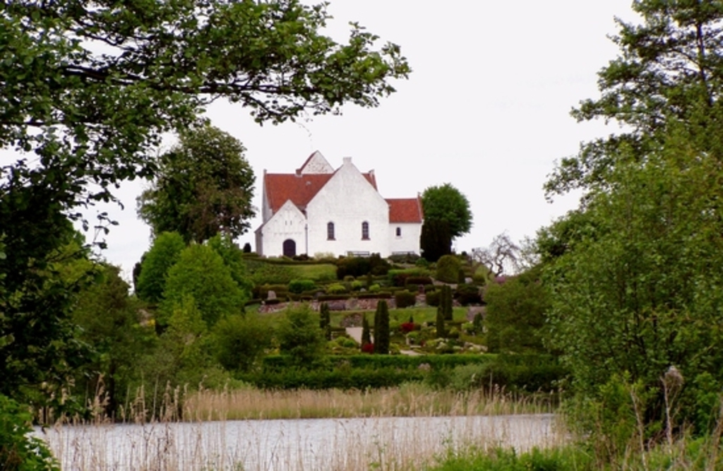 Pedersborg church and lake in Sorø