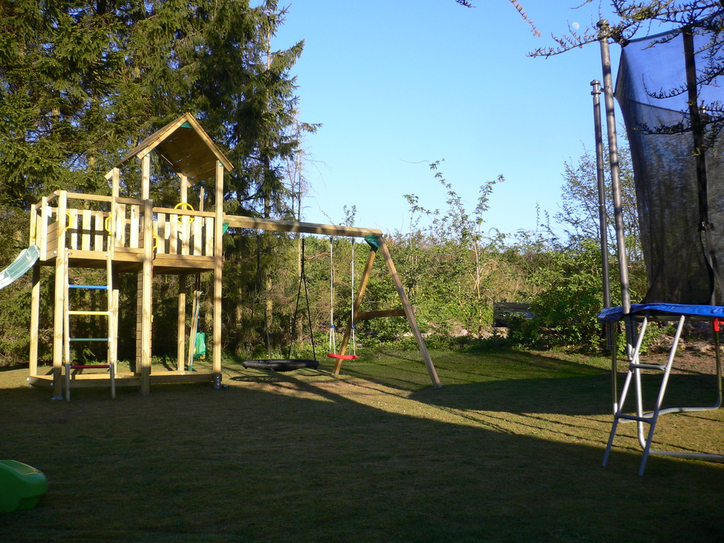The back of our garden with toys for children