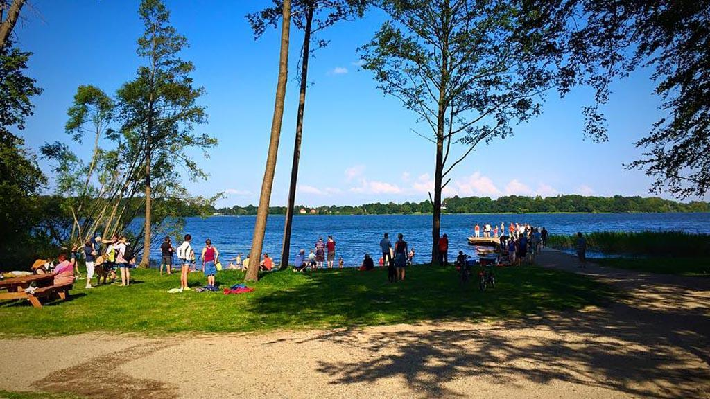 The new beach at Sorø lake, Parnas. Also has a café, playground and  animals. 5 min. by car. 30 min by foot.